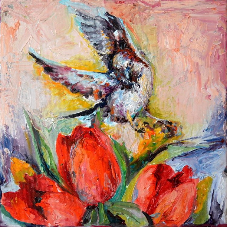 Red Attraction - Sparrow and Red Tulips, Original Bird and Spring Floral Oil Painting, Flower and Bird - Ready to Hang - Image 0