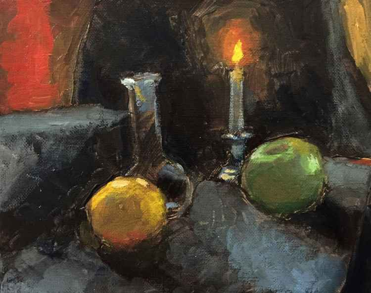 Candle, Apple and a Lemon -