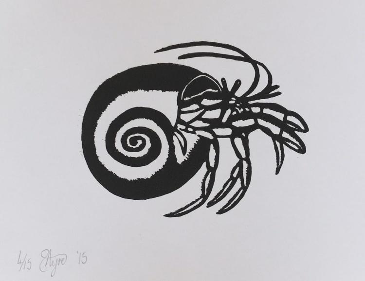 Hermit Crab Lino Print (Print run of 15) - Image 0