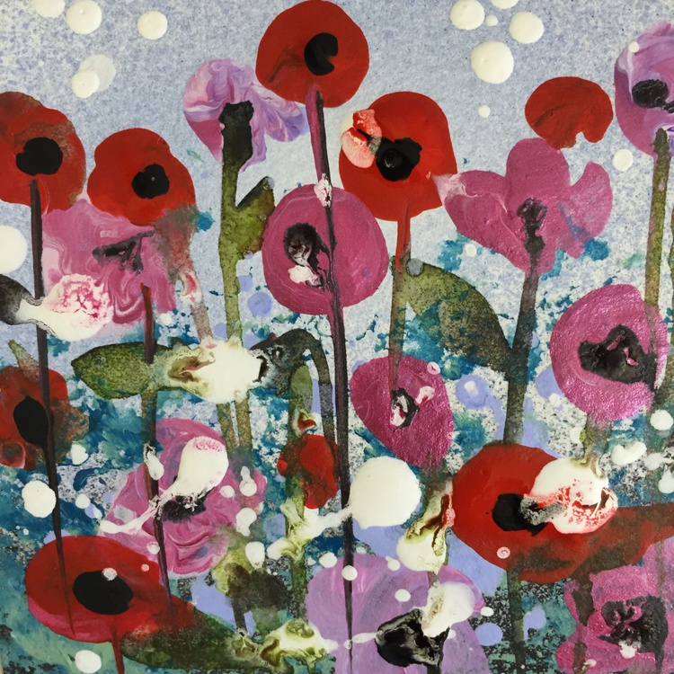 Red and pink poppies, framed box miniature - Image 0