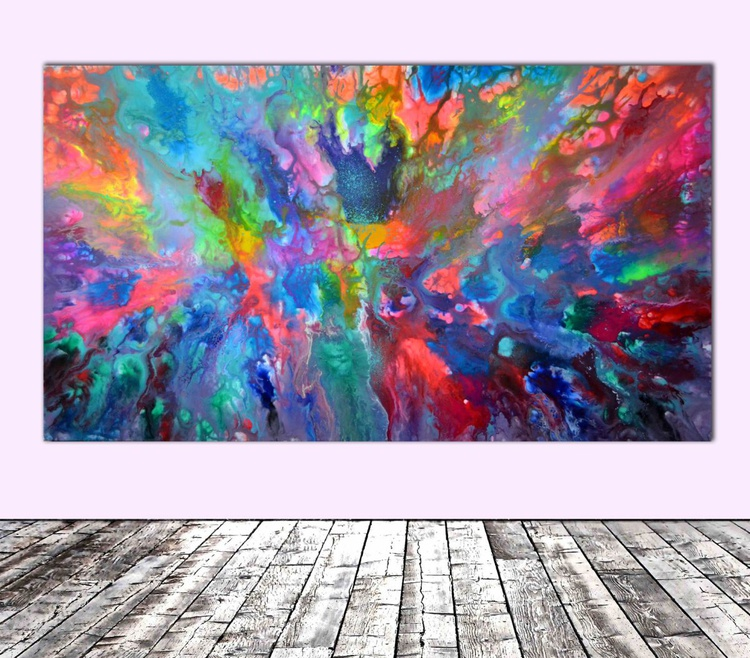Happy - 140x80 cm - REDUCED PRICE TILL 20 OCT. Big Painting XXXL - Large Abstract, Supersized Painting - Ready to Hang, Hotel Wall Decor - Image 0