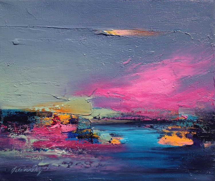 Falling Star - 25 x 30 cm, abstract landscape oil painting, gray, purple, magenta, pink, orange - Image 0