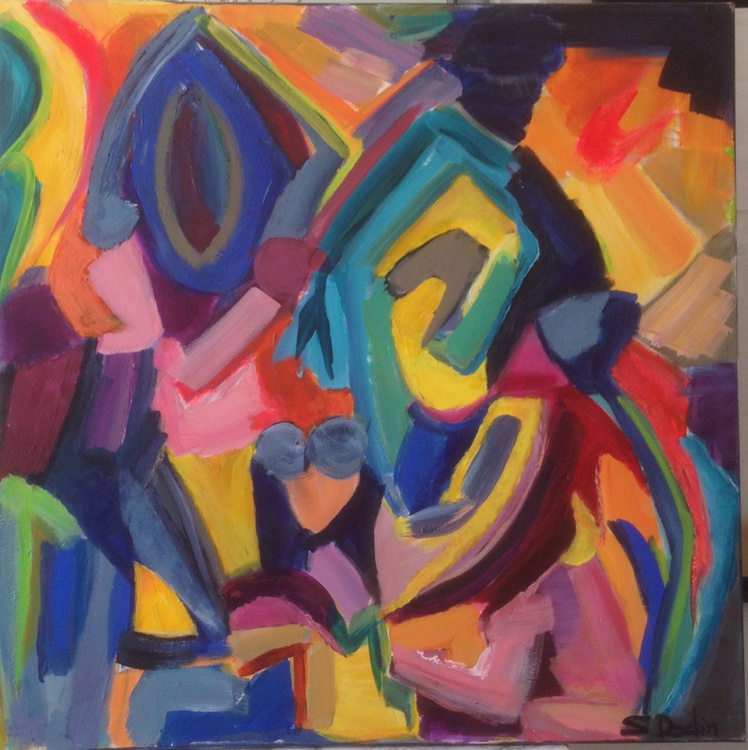 colours  Abstract acrylic 100x100 - Image 0
