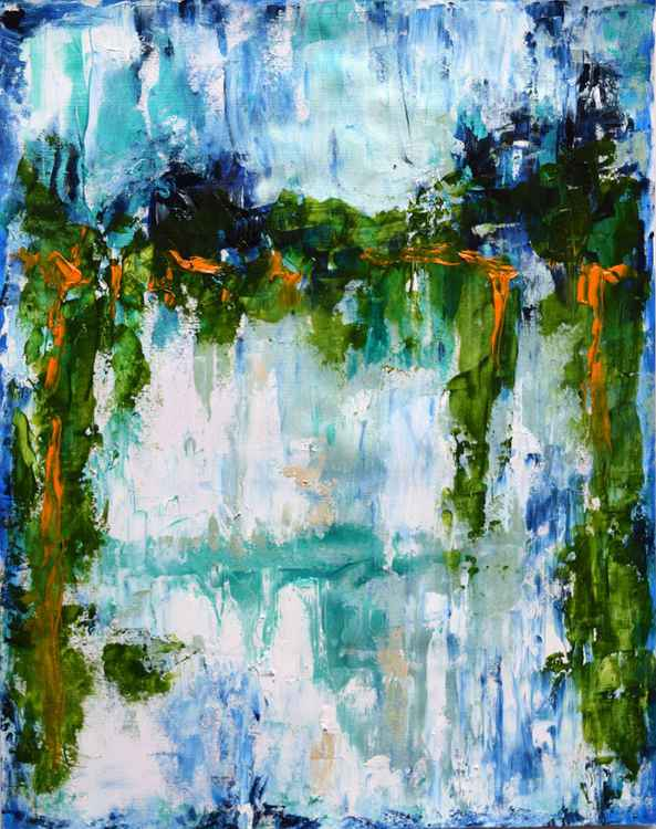 Far away /Original Abstract Large Modern Contemporary  Glossy Water Wall Art By Anna Sidi -