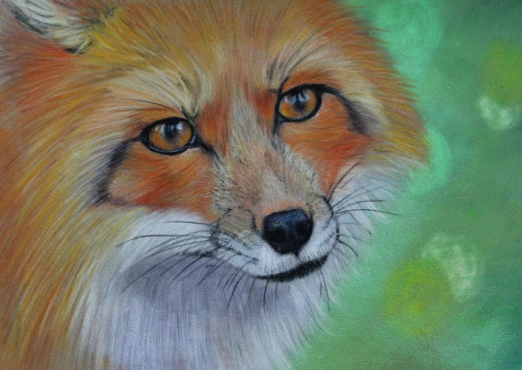Vixen, framed pastel drawing of a fox - Image 0