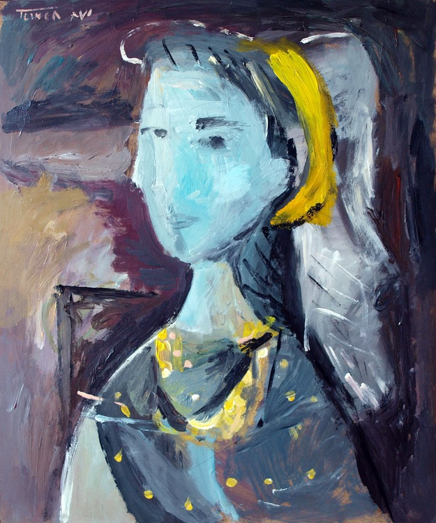 Woman sitting in an armchair (inspired by Picasso) - Image 0