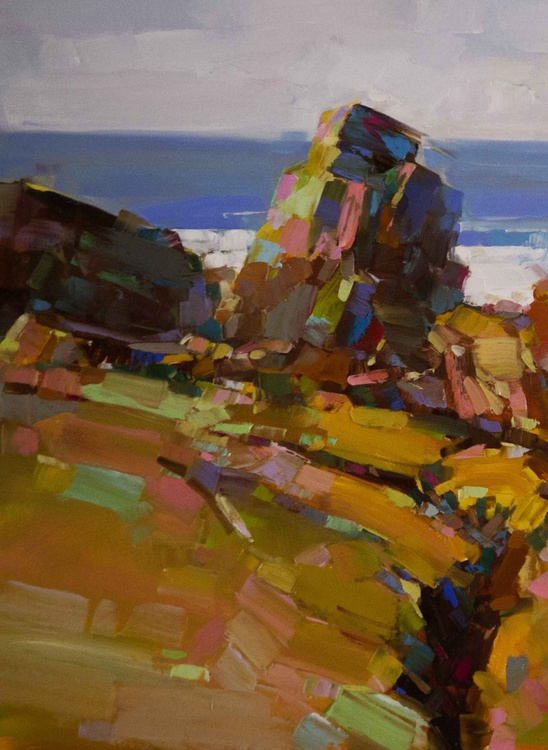 Ocean Cliffs Impressionism One of a Kind - Image 0