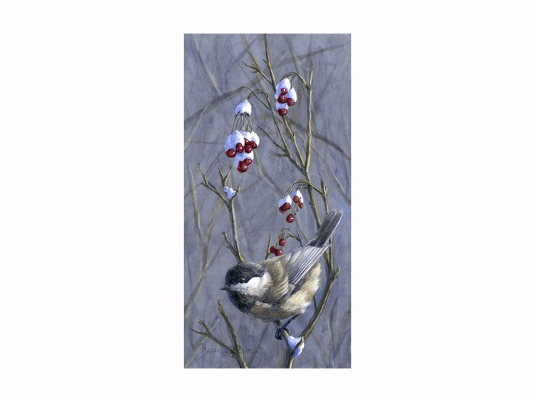 Winter Harvest 2 - Berries, Snow, and Chickadees - Image 0