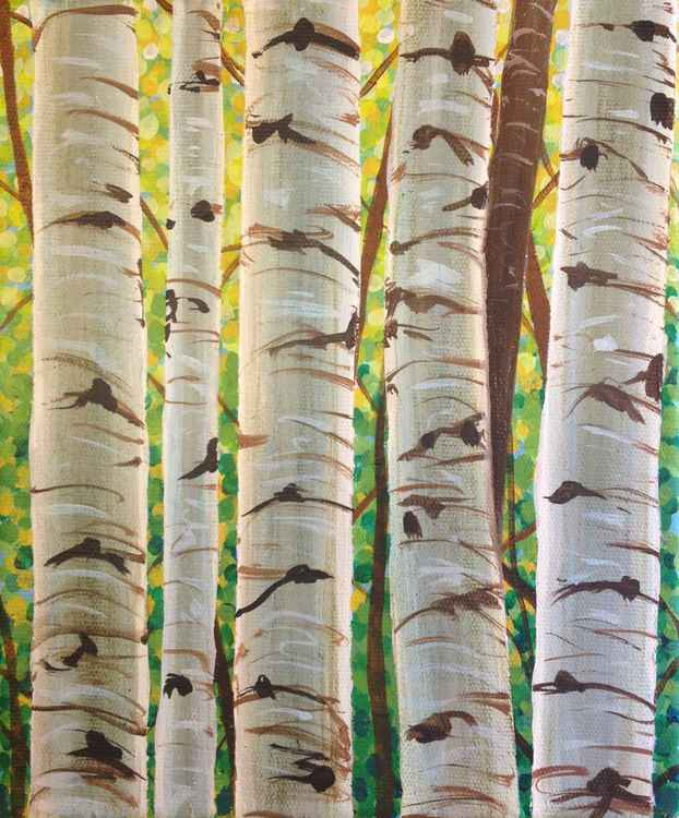 Original Painting of 'Spring Birch Trunks' by Kirstin Wood