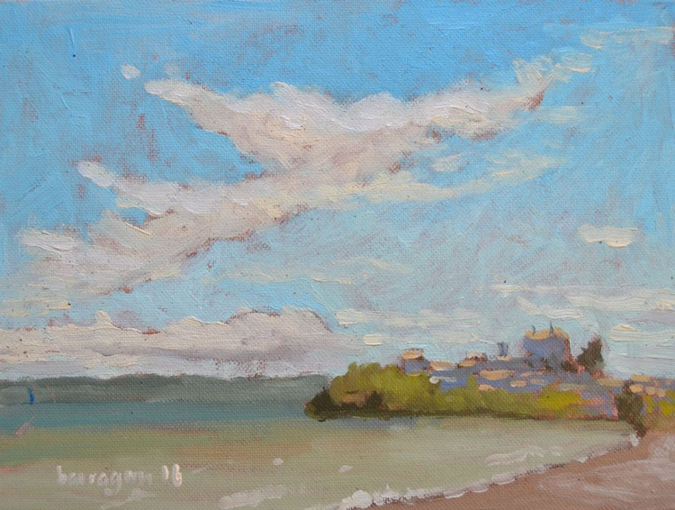 Windy Morning on Lago di Bolsena in Lazio Italy Italian Plein Air Landscape Oil Painting - Image 0