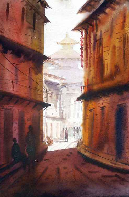 Bhakatapur(Nepal) Narrow Lane-Watercolor on Paper