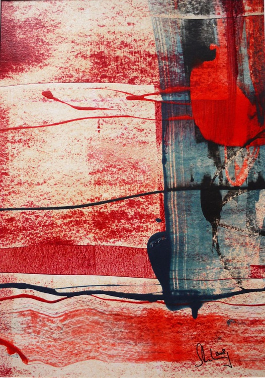 The Flow #1 | PanArt-Painting | red blue cream | complete with mat - Image 0