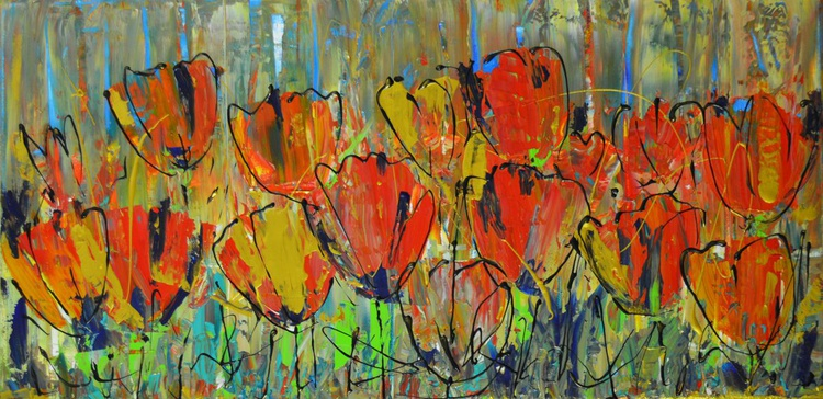 Tulips by the Old Fence - Image 0