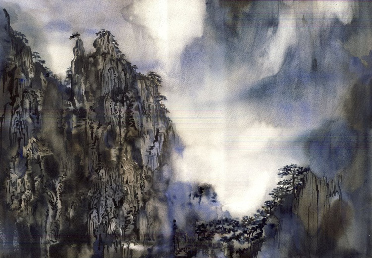 Misty mountains with blue - Image 0