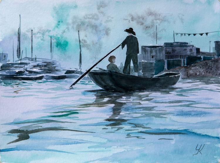 """Boatman"", original watercolour painting, 15.7""x 11.8""(40x30cm), ready to hang - Image 0"