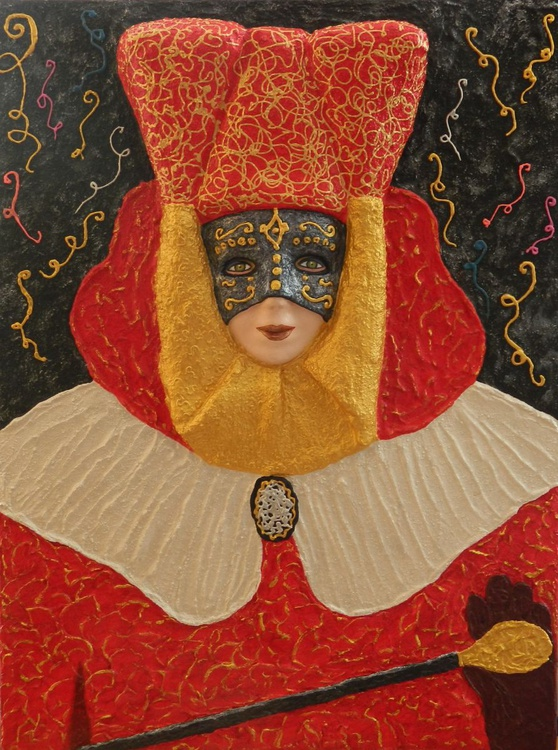 Carnival - Original, unique, modern abstract fantasy festive costume, impasto painting in high relief - Image 0