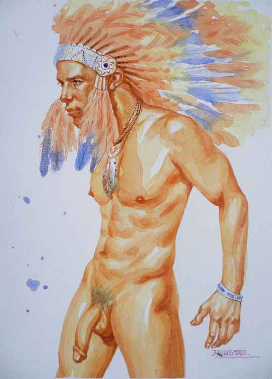 ORIGINAL CLASSICAL WATERCOLOUR PAINTING ART MALE NUDE  GAY MEN  ON PAPER#12-2-01 -