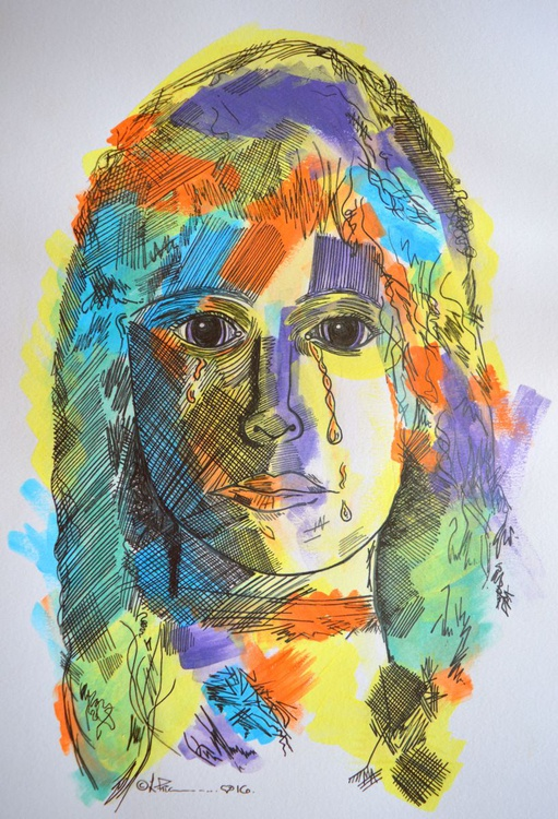 'Sadness' energy scribble face drawing - Image 0