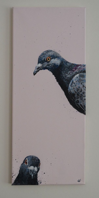 Original water based painting of two pigeons by Victoria Coleman - Image 0