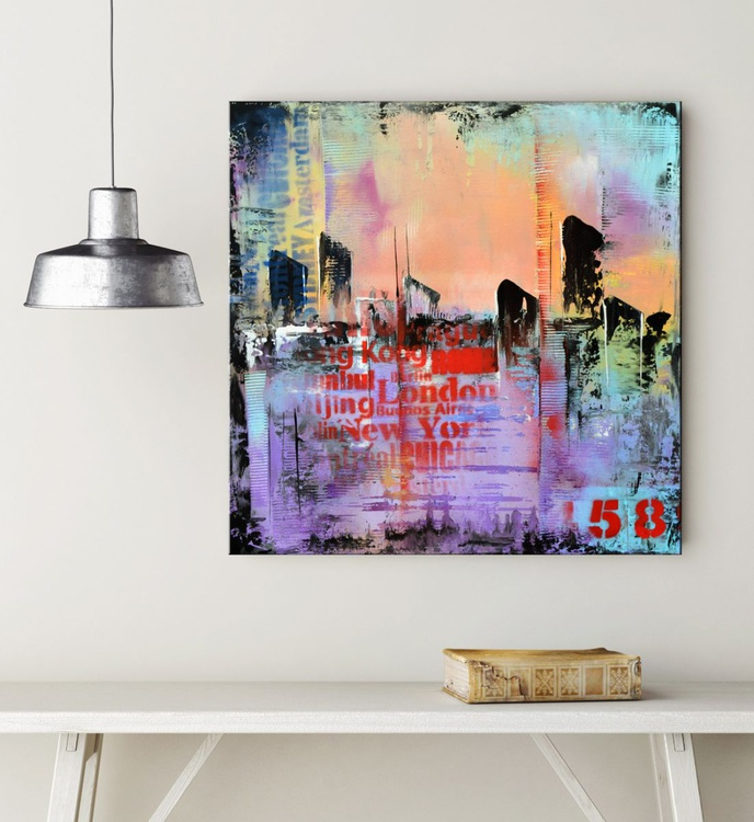 """No. 58, 24""""x24""""x1.5"""" Purple and Blue Palette Knife Urban Abstract painting on Galerry Wrap Canvas - Image 0"""