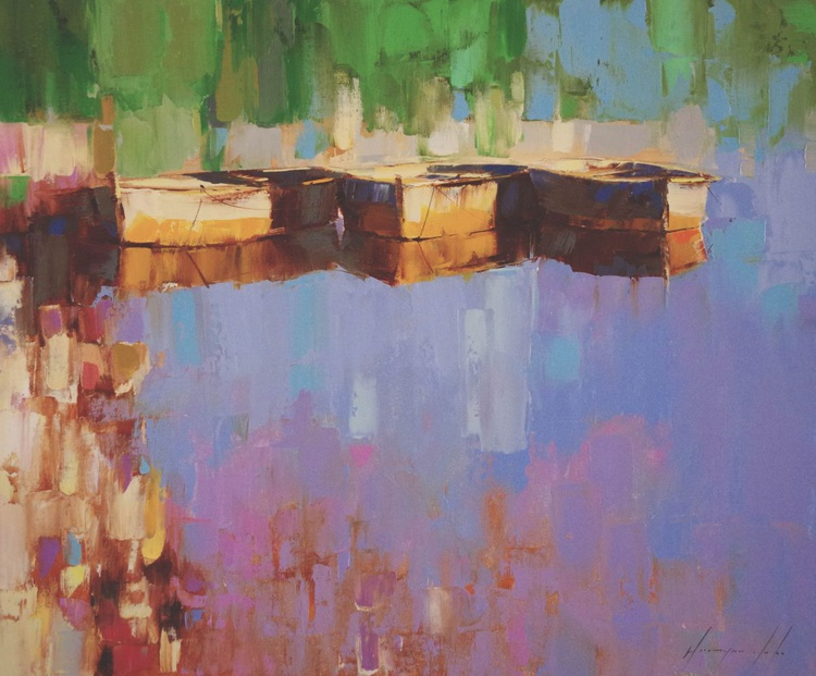 Rowboats on the Lakeside Original oil painting  Handmade artwork One of a kind - Image 0