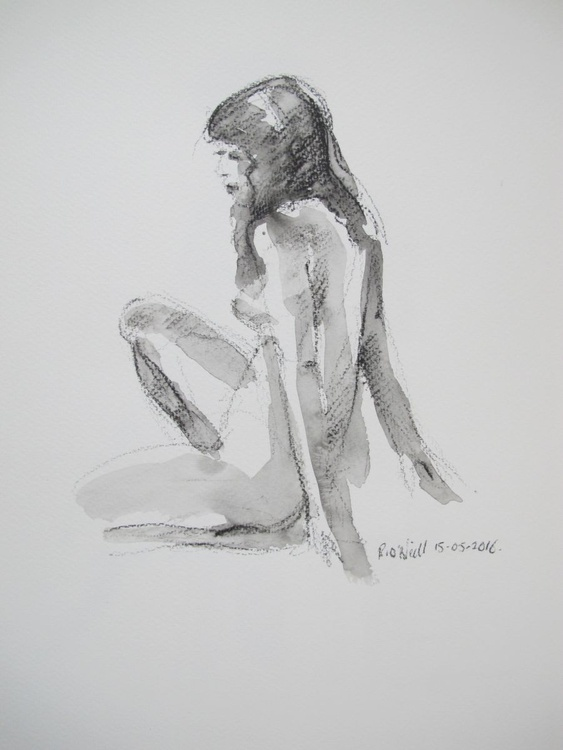 seated female nude - Image 0