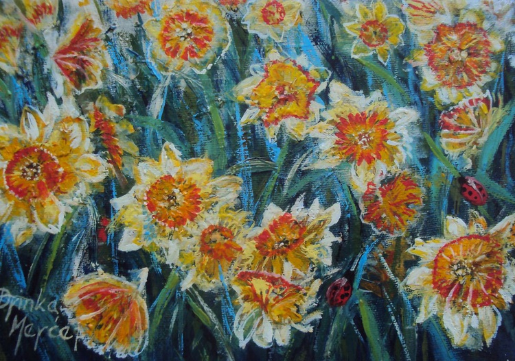 Daffodils Original Painting Oil on Canvas - Image 0