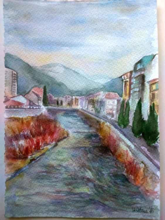 Watercolour cityscape