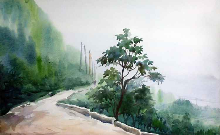 Lonly Himalaya Mountain Road - Watercolor Painting -