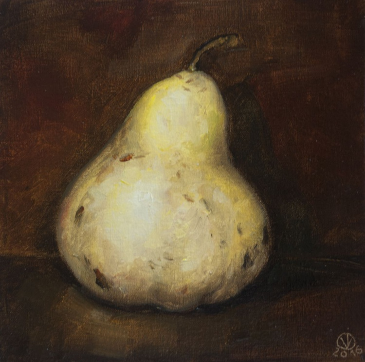 Pear (15x15cm) original oil painting still life realistic vintage style small gift kitchen decor - Image 0