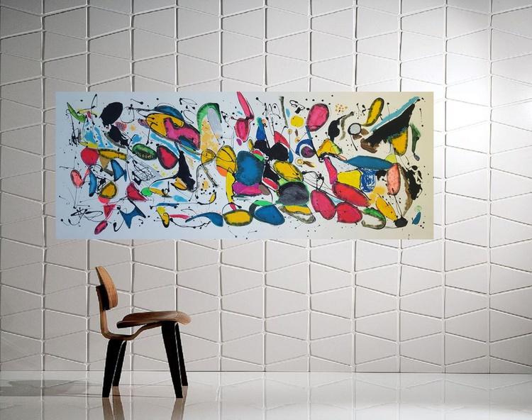 "59x 23,5""( 150x60cm), Lemnos Island Landscape,  wall design , canvas art, home painting - Image 0"