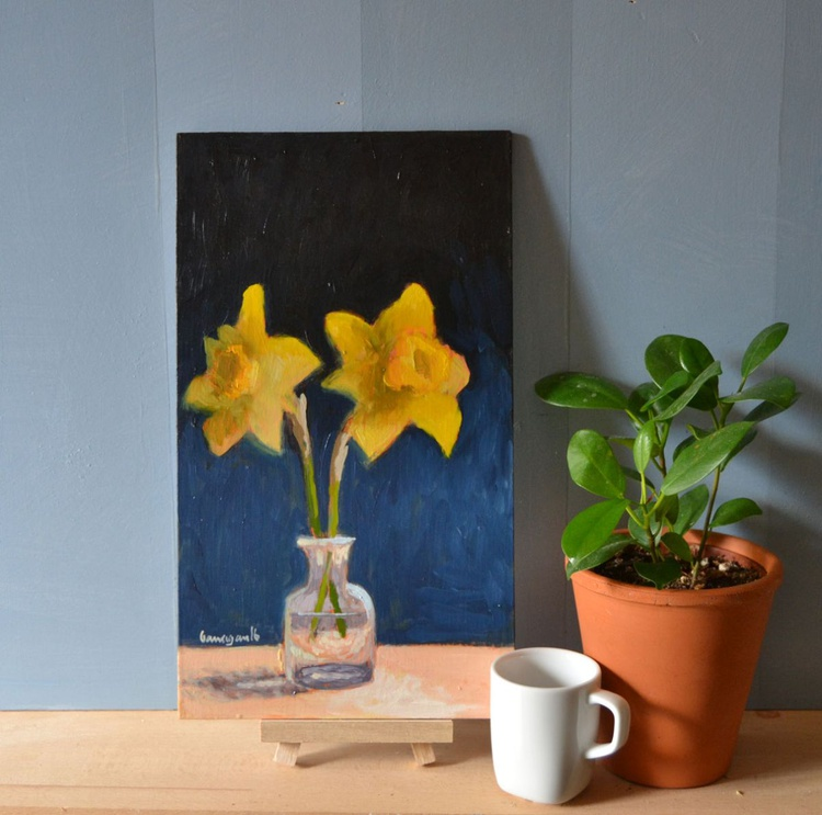 Two Daffodils in Little Glass Vase Still Life Oil Painting - Image 0