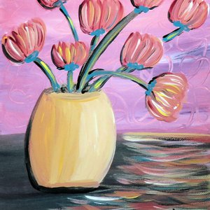 Summertime Tulips in a Yellow Vase by Jo Claire Hall
