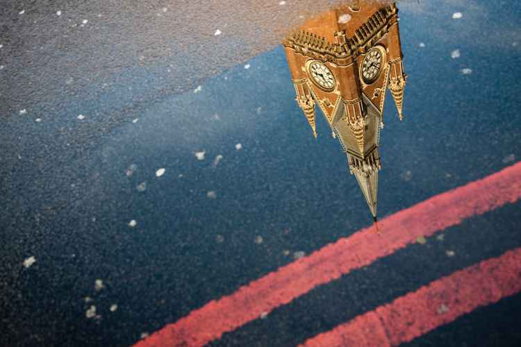 St Pancras Clock Tower Puddle Reflection, London -