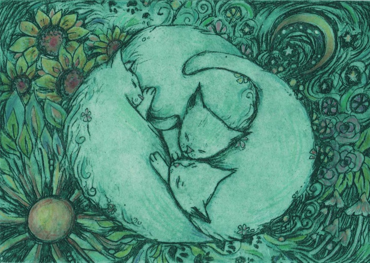 Sleeping Cats limited edition solar plate etching - Image 0