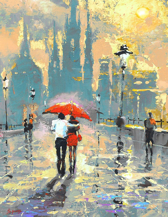 "You & Me - oil acr. painting by Dmitry Spiros, 2016, 70cm x 90cm, (28"" x 36"") - Image 0"
