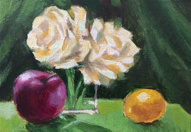 Still Life With White Roses -