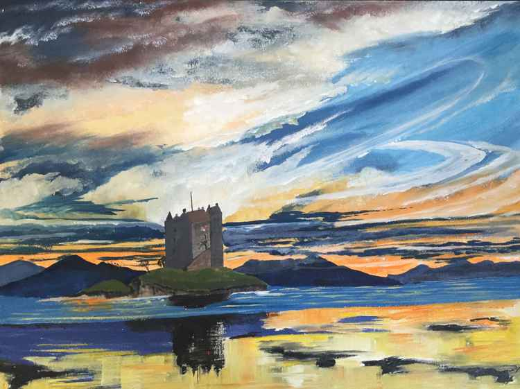 Sunset over Castle Stalker -