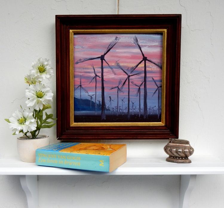 Dutch windmills. Landscape, 25x25cm - Image 0