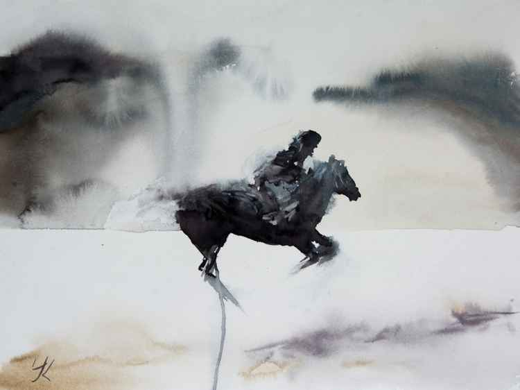 """Horseman"", original watercolour painting, 15.7""x 11.8"" -"