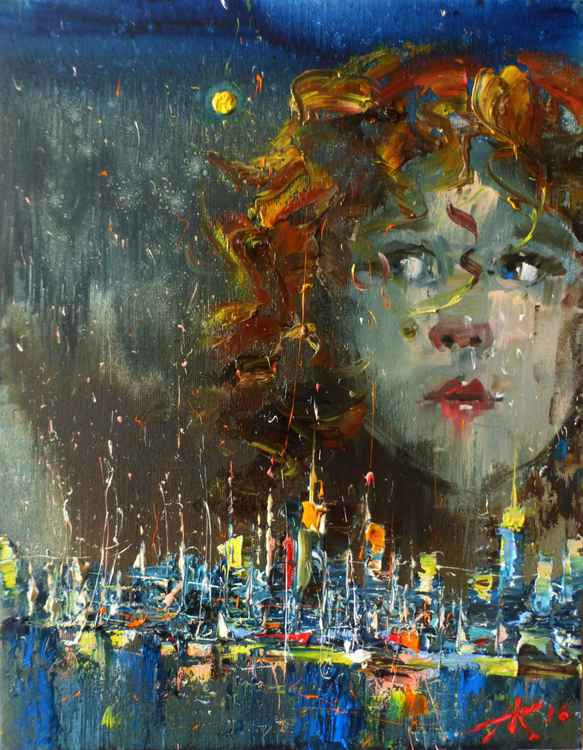 We are the Children of the Big City III, original oil painting 35x45 cm, ready to hang! -