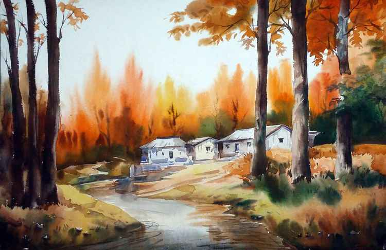 Autumn Forest Village & River - Watercolor on Paper -