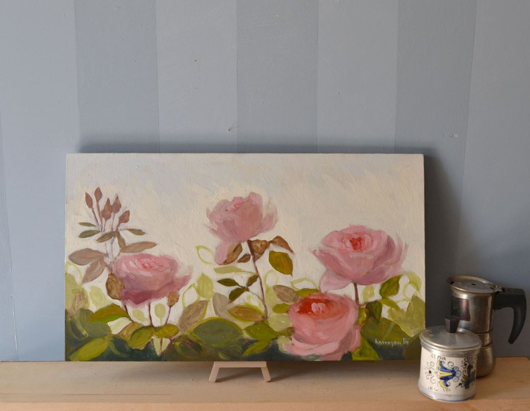 Pink Roses in Florence Italy Plein Air Oil Painting - Image 0