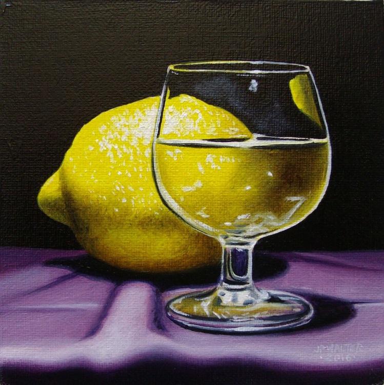 Glass lemon on purple / FREE shipping - Image 0