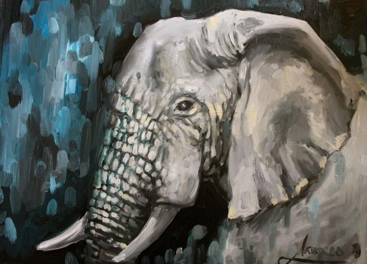 "Elephant art, african art ""Portrait of the Elephant"" - Image 0"