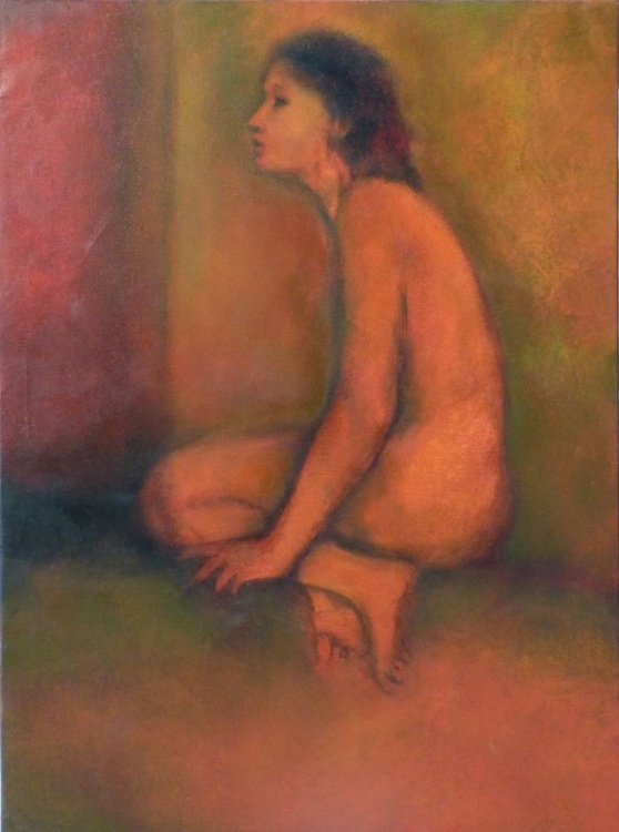Seated Nude, oil on canvas, 81x60 cm, ready to hang - Image 0