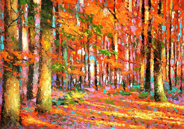 Golden autumn forest - oil painting with palette knife on canvas by Dmitry Spiros, 100 x 70 cm, 2015