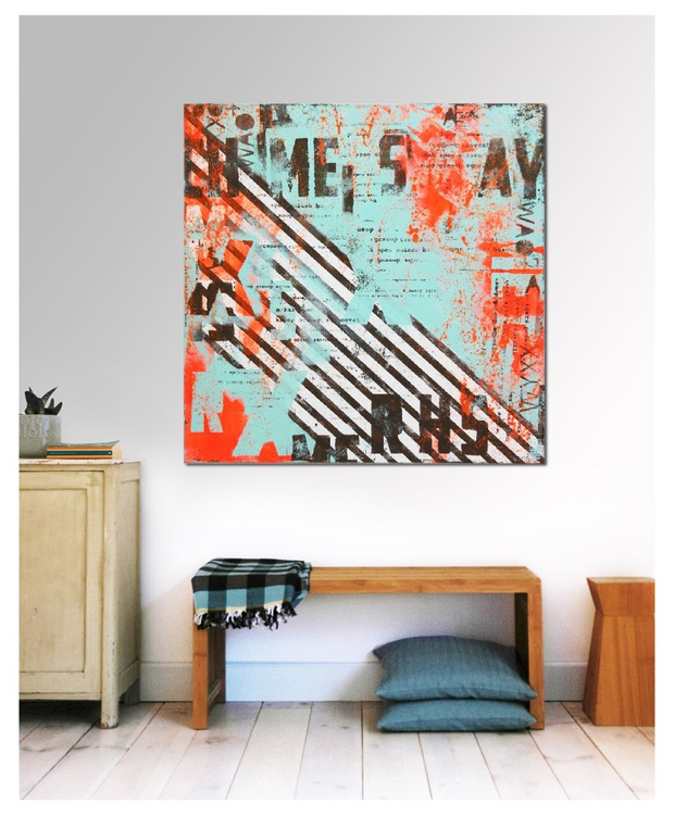 Abstract Painting - Neon Typography Blue & Orange - C18 - Image 0