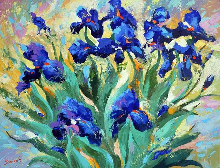 Blue irises - Original Oil acr. palette knife Painting, Size: 60cmx80cm -
