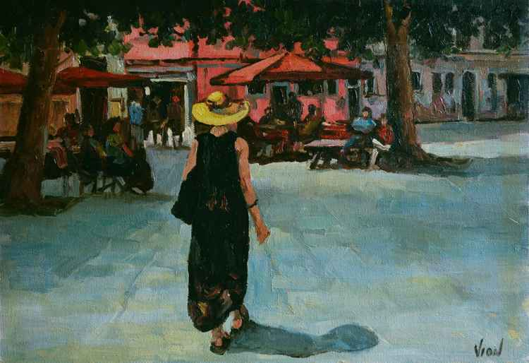 Yellow Hat. Square in Venice